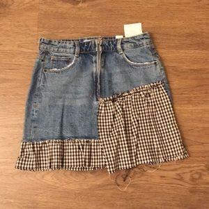 Check denim skirt